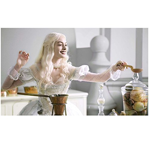 Alice in Wonderland Anne Hathaway as the White Queen holding wooden spoon 8 x 10 Inch - Glasses Hathaway Anne