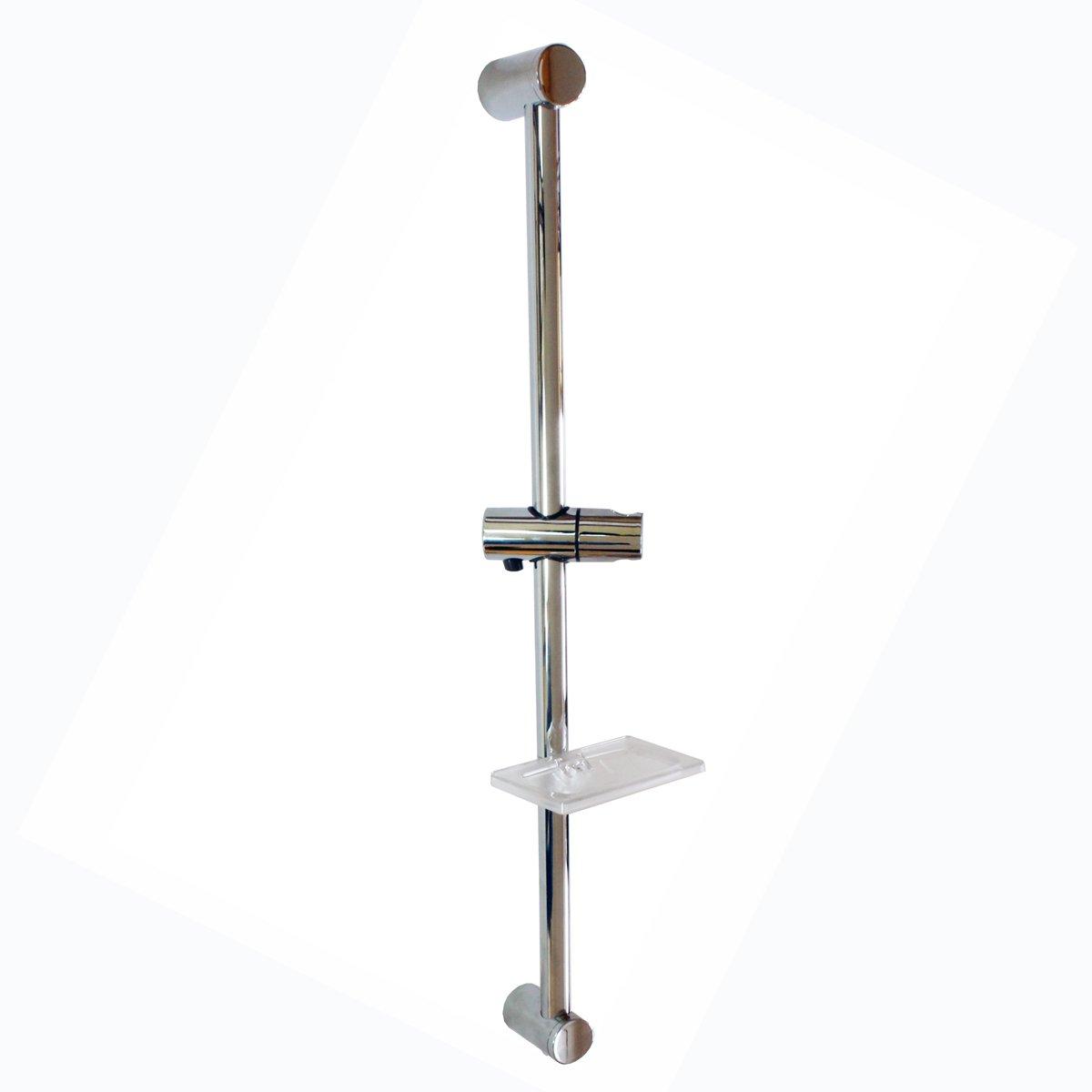 Sanixa Telescopic Shower Bar with Adjustable Bracket Shower Head Holder And Soap Dish/Bar Chrome-Plated Brass/Hold ABS Chrome Shower Rail Shower