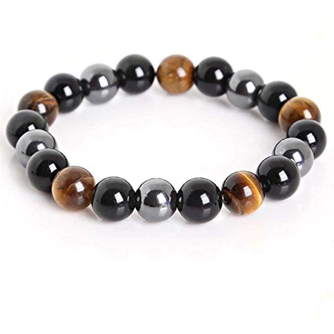 YouCY 10mm Natural Black Obsidian Tiger Eye Bracelet Elastic Yoga Gemstones Healing Energy Men Women Stretch Bracelet,2#