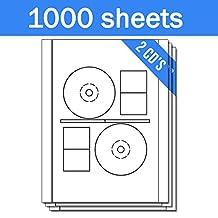 OfficeSmartLabels Stomper Pro Compatible DISC CD DVD Labels with Case Spine Labels for Laser & Inkjet Printers, 2 per sheet, White, Matte, 2000 Labels, 1000 Sheets