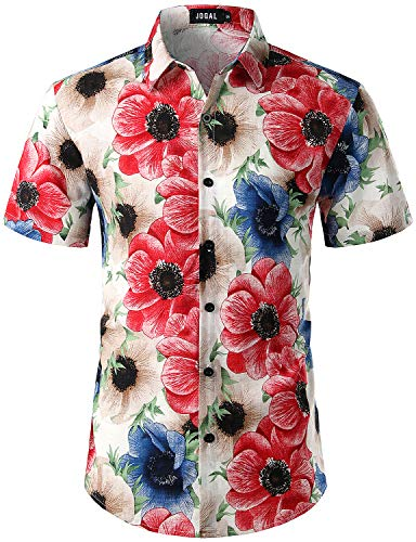 JOGAL Men's Flower Casual Button Down Short Sleeve Hawaiian Shirt Meduim Peony Apricot (Peonies Hawaii)