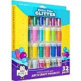 Glitter Art Set 32 Pack - Ultra Fine Glitter for Slime - Craft Glitter - Art Supplies Glitter Shaker Jars - Extra Fine Glitter Set - Loose Glitter Pack - Slime Ingredients