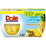 Dole Fruit Bowls, Pineapple Tidbits in 100% Pineapple Juice, 4 Ounce (4 Cups), All Natural Pineapple Tidbits Packed in Pineapple Juice, Naturally Gluten-Free, Non-GMO, No Artificial Sweeteners