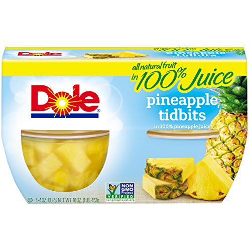 - Dole Fruit Bowls, Pineapple Tidbits in 100% Pineapple Juice, 4 Ounce (4 Cups), All Natural Pineapple Tidbits Packed in Pineapple Juice, Naturally Gluten-Free, Non-GMO, No Artificial Sweeteners