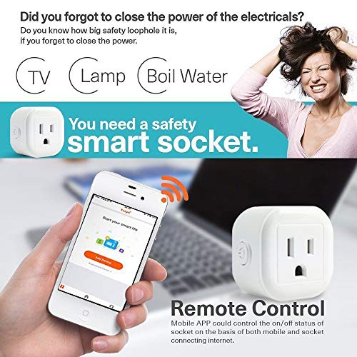 Greendot WiFi Smart Plug Mini, Smart Home Power Control Socket, Remote Control Your Household Equipment from Everywhere, No Hub Required, Compatible with Alexa and other assistant (2 Packs)