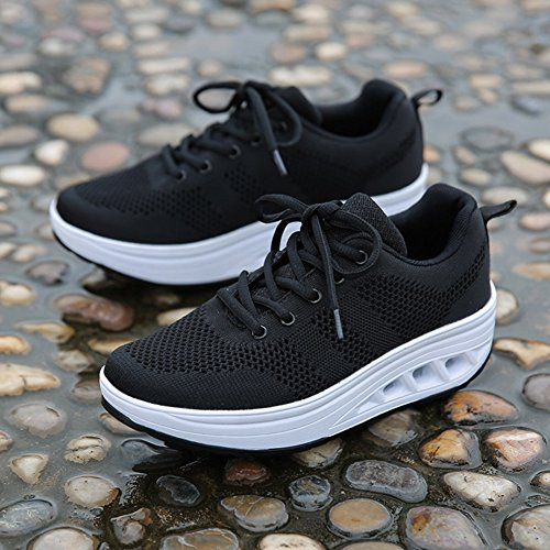 Cybling Mode Kvinnor Atletisk Motion Andas Skor Komfort Sport Walking Kil Sneakers Svart