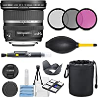 Canon EF-S 10-22mm f/3.5-4.5 USM SLR Lens for EOS Digital SLRs with 3pc Filter Kit (UV, CPL, FLD) + Deluxe Pouch + Hood + Cleaning Kit - International Version