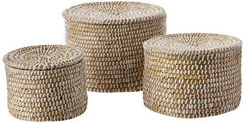 Creative Co-op Whitewashed Woven Seagrass Lids (Set of 3 Sizes) Baskets, White ()