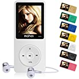 MYMAHDI 16GB MP3 Music Player 1.8 inch Screen 70h Lossless Sound, Support up to 128GB Micro SD Card White