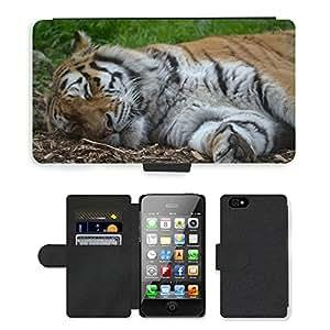 PU LEATHER case coque housse smartphone Flip bag Cover protection // M00129600 Tigre el dormir del gato grande Zoo // Apple iPhone 4 4S 4G
