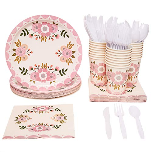 Blue Panda Vintage Floral Party Supplies Pack - Serves 24 - Includes Knives, Spoons, Forks, Plates, Napkins, and Cups