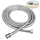 HOMEIDEAS 100-Inch Shower Hose Bathroom Stainless Steel Extra Long Shower Head Hose Toilet Handheld Showerhead Sprayer Extension Replacement,Polished Chrome