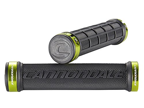 Cannondale DC Dual Lock-On Bicycle Handlebar Grips (Black/Green Rings) (Bicycle Road Cannondale)