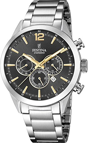 Men's Watch Festina - F20343/3 - Chrono - Date - Charcoal-Grey Dial - Stainless Steel