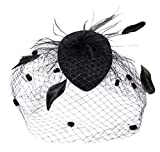 AM CLOTHES Fascinator for Women with Hair Clip Black