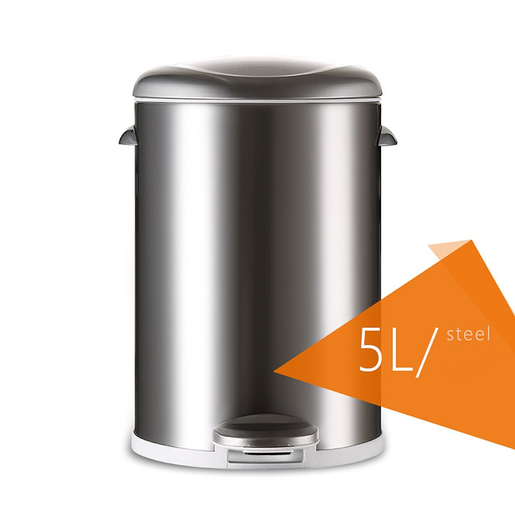 Stainless Steel Foot Trash Cans Household Kitchen Trash Toilet Office Cover Mute 5L ( Color : Sand steel ) by LITINGMEI Refuse Bin (Image #1)