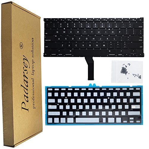 Padarsey Backlight Backlit keyboard replacement with 80 pce Screws for Macbook Air 13'' A1369 (2011) A1466 (2012-2015) MJVE2LL/A MD760LL/A MC965LL/A MD231LL/A MJVG2LL/A Series (6 Months Warranty)