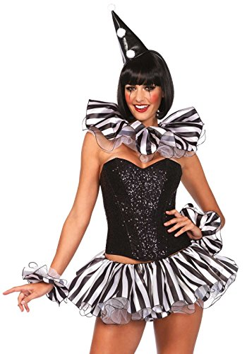 Leg Avenue Women's 3 Piece Harlequin Costume Kit, Black/White, One Size