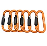 Makhry 6pcs/set Aluminum Carabiner Screw Lock D-ring KeyChain Clip Hook Outdoor Buckle for Camping Hiking Fishing (Orange)