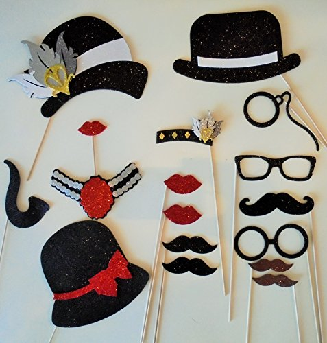 picwrap 17 Photo Booth Props Glasses 1920 Inspired Great Gatsby ()