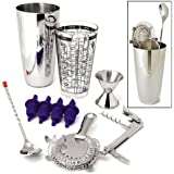 ChefGiant Bar Set Stainless Steel 10 Pieces: Shaker, Bar Strainer, Bottle Opener, Bar Spoon, Corkscrew, Jigger, and 4 Pourers