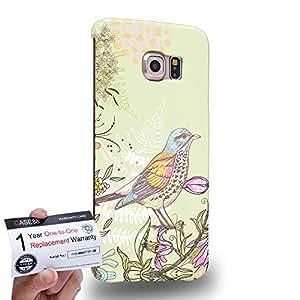 Case88 [Samsung Galaxy S6 Edge] 3D impresa Carcasa/Funda dura para & Tarjeta de garantía - Art Drawing Fanciful Intricacies Birds A