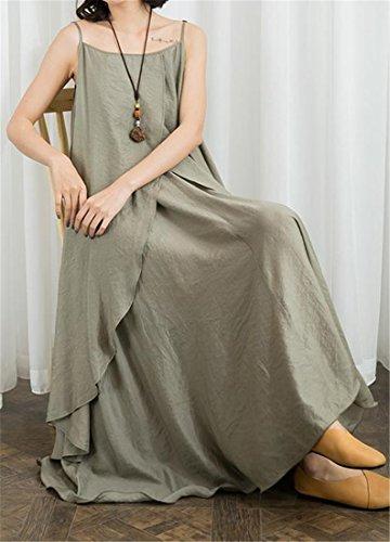 Casual Spaghetti Women Khaki Cromoncent Long Shift Dress Solid Dress Strap Layered 1qExTtO