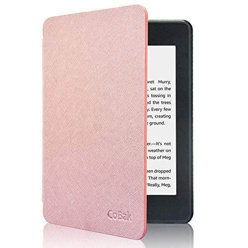 CoBak Kindle Paperwhite Case - All New PU Leather Smart Cover with Auto Sleep Wake Feature for Kindle Paperwhite 10th Generation 2018 Released, Rose Gold