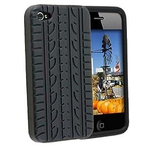 Neu LOTTIES Funda con NEUMÁTICOS bandas de rodadura de caucho de silicona en gel iPhone 5s - Negro
