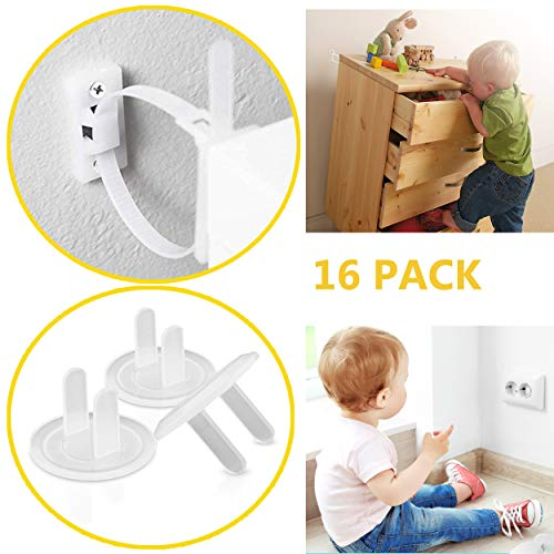 Earthquake Straps - Easy To Use and Replace (6 Straps) Anti Tip Furniture Kit with (10 Plug Covers) Baby Proofing Outlet Covers - Furniture Anchors for Baby Proofing - Furniture -