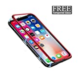 EXEcharge Hybrid Armor iPhone X Case with Resilient Shock Absorption and Magnetic Fiber Design for Apple iPhone X (2018) - Red