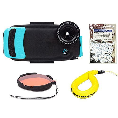 Watershot PRO Kit for iPhone 6/6s + PLUS (Limpet Shell) (flat + wide angle lens port) w/ Filter, Lanyard and FREE Moisture Munchers by Watershot Inc.