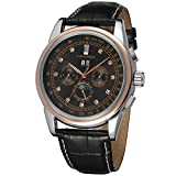 Forsining Men's Automatic Self winding Moon Phase Watch with Black Leather Strap Analogue FSG319M3T6