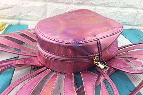 laser modélisation transparent 4 dos dos couleurs Pnizun sac en à amusant école Rose papillon cuir la de PU zippée Personnalité Noir sac mode casual dames à qaxzP7qA