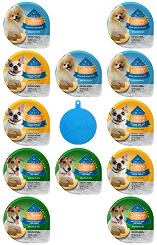 BLUE Divine Delights Breakfast Bites for Dogs in 3 Flavors - Steak & Egg; Sausage, Egg & Cheese; and Bacon, Egg & Cheese - 3.5 Oz Ea, 12 Cups Total - Plus Silicone Dog Food Can Cover - 13 Items Total (Breakfast Blue)