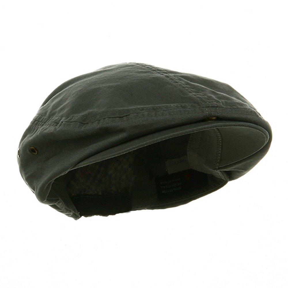 Washed Canvas Golfing Beret Ivy Ascot Cabbie Cap Dark Grey Mega Cap