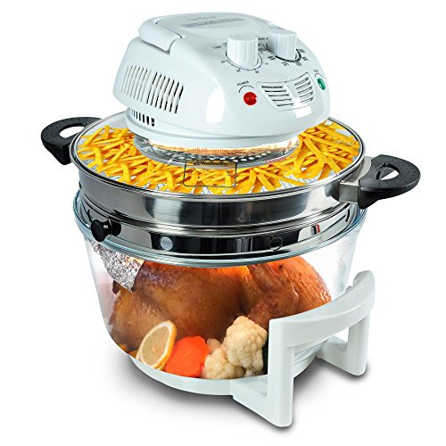 NutriChef Air Fryer, Infrared Convection Oven, Halogen Oven Countertop, Healthy Cooking, Stainless Steel, 13 Quart 1200W, Prepare Quick Healthy Meals, Great for French Fries & Chips, White(PKAIRFR48)