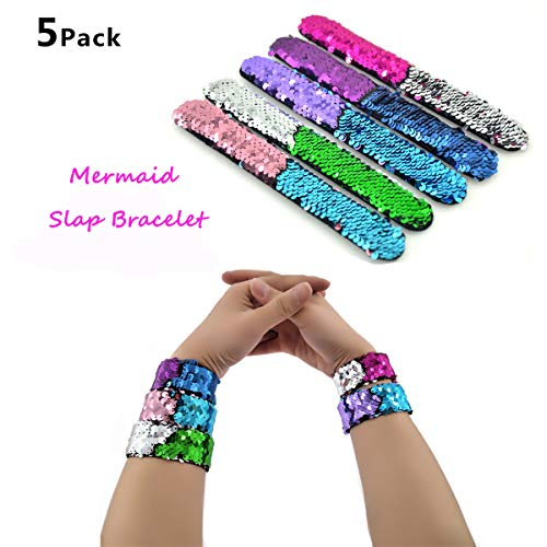 Slap Bracelets - 2 Color Decorative Charm Reversible Sequin Mermaid Bracelet for Party Favors, Birthday and Christmas Gifts – 5 Pack Magic Wristband for Girls, Boys and Kids. ()