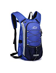 SUNVP 12L Nylon Backpack Waterproof Mountain Daypacks Commuting Biking Cycling Backpacks-Blue, 9.4 inch*15.7 inch*5.9 inch (Blue)
