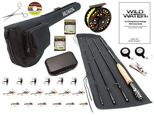 Wild Water Fly Fishing CNC Machined Fly Reel, 9 Foot, 4-Piece, 5/6 Weight Fly Rod Complete Fly Fishing Rod and Reel Combo Starter Package