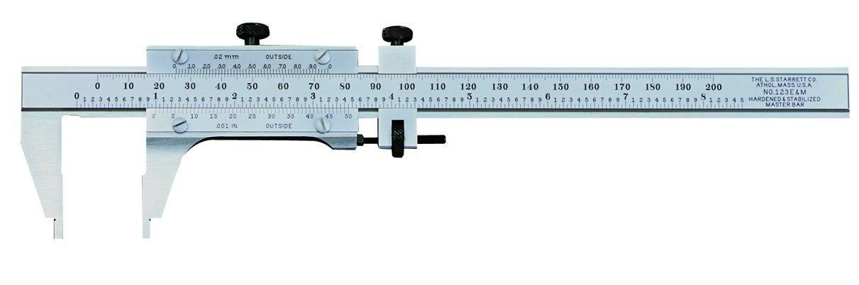 Starrett 123EM-6 Vernier Caliper, Steel, Nib Style Jaw, 0-6'' Range, +/-0.0005'' Accuracy, 0.001'' Resolution by Starrett (Image #1)