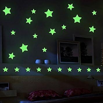 Mture Aufkleber Wandsticker Sticker, Sterne für Sternenhimmel Wandsticker,  Fluoreszierend und im Dunkeln leuchtend, ideal für Kinderzimmer und ...