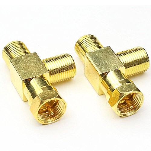 ANHAN 3 Way F Type Male to 2x Female Connector M/F T Shaped Combiner Splitter Adapter RF Coax Adapter 2Packs