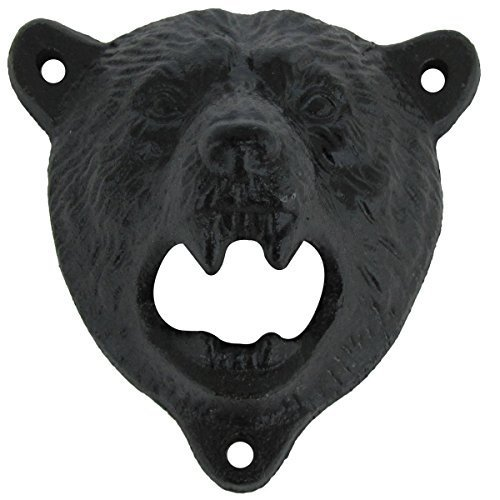 Bear Opener - Cast Iron Wall Mount Grizzly Bear Teeth Bite Bottle Opener (Black)