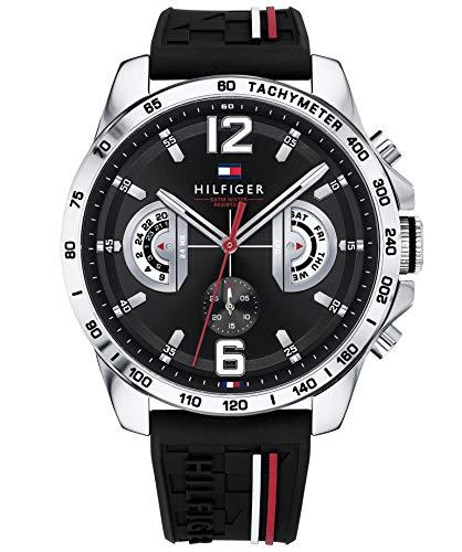 Amazon.com: Tommy Hilfiger Mens Decker Black Dial Black Rubber Strap 1791473: Watches