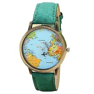 uhr damen Kolylong Frau Weltkarte Muster Case Uhr Green