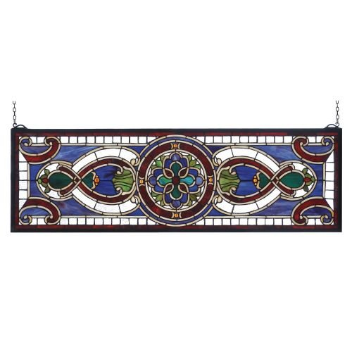 Meyda Tiffany 77907 Evelyn In Lapis Transom Stained Glass Window Panel, 35