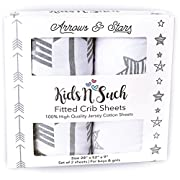 Fitted Crib Sheet Set | Arrows & Stars | 100% Premium Jersey Knit Cotton | Super Soft and Safe for Babies | Crib Sheets for a Standard Baby Or Toddler Mattress | 2 Pack | White Sheets | Grey Patterns