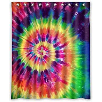 KXMDXA Custom Tie Dye Rainbow Spirals Fractal Bathroom Shower Curtains 100%  Polyestey 66 X 72 Inch