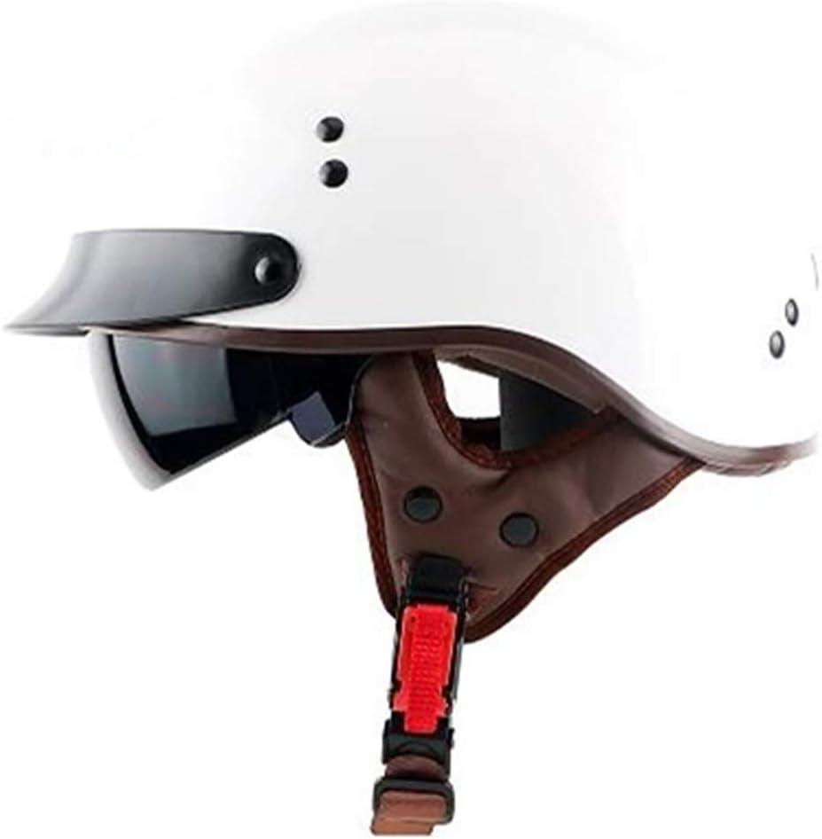 BAOB Jet Vintage Helm Motorrad DOT Zertifiziert Lederfutter Sonnenvisier UV schutzbrille Schnellverschluss f/ür Herren Damen Pedallokomotive Cruiser Roller Chopper Pilot 57-64cm